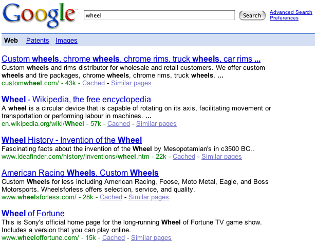 start google wheels result