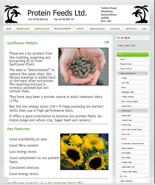 http://www.proteinfeeds.co.uk - Sunflower pelletspage