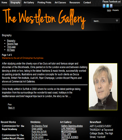 www.westletongallery.co.uk - biography page