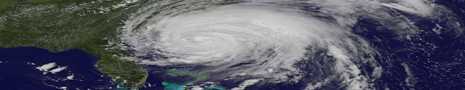 Hurricane Irene approaches the east coast of USA, near Florida in 2011.
